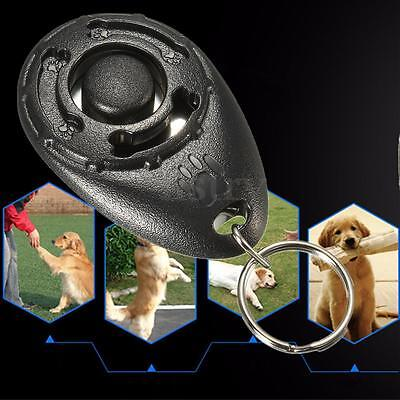 Pet Dog Puppy Clicker Training Obedience Aid Teaching Fun Exercise KeyRing Black