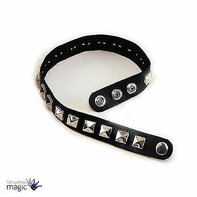 Studded 70s 80s Punk Rocker Stud Collar Choker Fancy Dress Costume Accessory