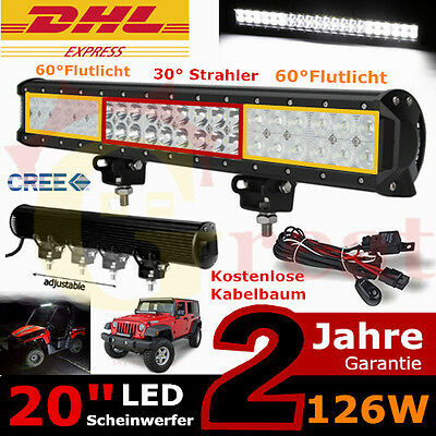 "20"" 126W LED Work Light Bar Combo Off road Driving Jeep SUV Truck 4WD 120w/180w"