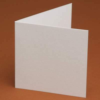 """10 Blank 150mm (6"""") Square folded cards White, Ivory, Linen, Hammered smooth"""