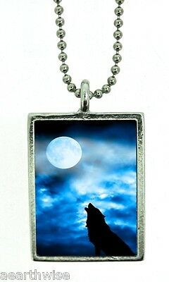 1 X WOLF MOON FOR ABUNDANCE PENDANT Wicca Witch Reiki Pagan Goth