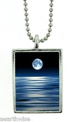 1 X BLUE MOON FOR UNEXPECTED GAINS PENDANT Wicca Witch Pagan Goth Reiki