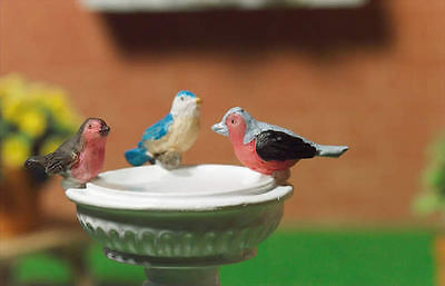 Three Colourful Birds, Miniatures, Dollhouse, Bird. 1.12th Scale Set Of 3