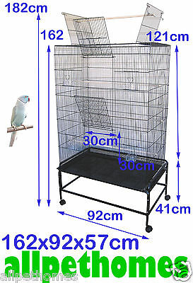 Large Doors Pet Parrot Aviary Bird Cage ON Wheels Stand 3 Perches Large SUPREMO