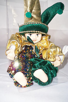 Harlequin Doll 2005 Hand Painted Porcelain Hands, Head Classic Treasures