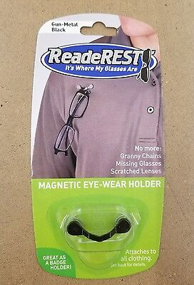 ReadeRest CHOICE of Stainless, Black, Sunglass Magnetic Eye-Glass Holder - ONLY1