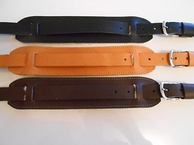 Uk Made Real Leather Vintage Guitar Strap Std Or Extra Long Brown, Black Or Tan