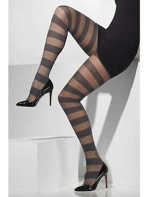 Womens Sheer Grey With Horizontal Stripes Tights