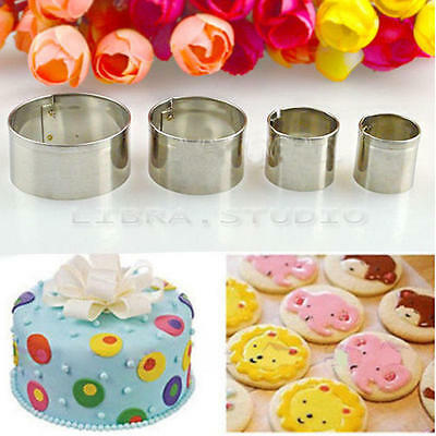 4pcs Stainless Round Circle Cookies Cutter Fondant Cake Decorating Pastry Mold