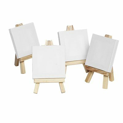 Wooden Easle 16cm & CANVAS 7.5cm x 7.5cm MINI ARTIST display weddings signs