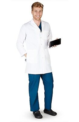 "Natural Uniforms MENS IPAD LAB COAT--38"" LENGTH Medical Doctor White Lab Coat"