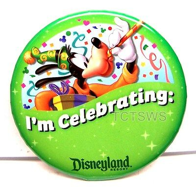Disneyland Button - Lot of 2 Goofy Buttons ~ I'm Celebrating ~ Limited Edition