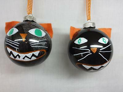Lot of 2 Grinning Black Cat Ornaments Large Glass Balls Vintage Style Read Descr