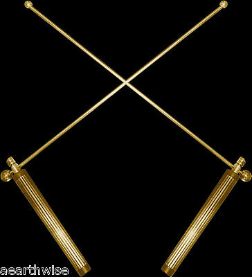 1 X PAIR OF DIVINING RODS Wicca Witch Pagan Goth Reiki Psychic BRASS & COPPER