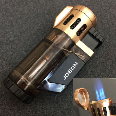 Windproof 3 Jet Torch Adjustable Flame Butane Viewable Refillable Lighter Gold