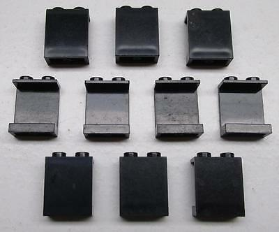 10 LEGO 1x2x2 BLACK PANELS LOT city town space wall pieces 4864a 4864b vintage