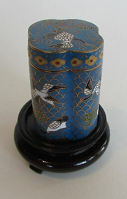Vintage Chinese Cloisonne Collectable Box With With Storks