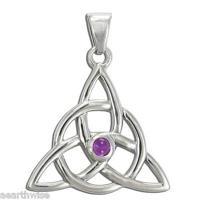 925 STERLING SILVER CELTIC TRIQUETRA AMETHYST PENDANT Pagan Wicca Witch Goth