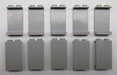 10 LEGO 1x2x3 OLD LIGHT GRAY PANELS LOT city town space wall pieces 236a 236b