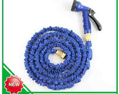 50/100ft Expandable Garden X Hose pipe with brass fittings Free spray Gun