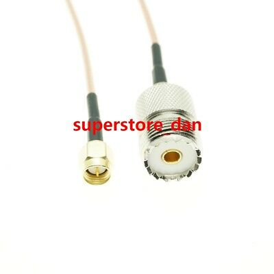 UHF SO239 female PL259 to SMA male plug crimp RG316 cable jumper pigtail 12inch