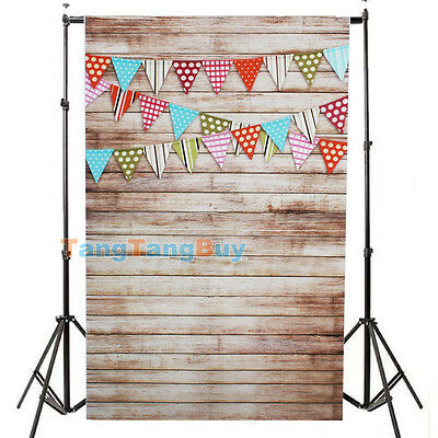 3x5FT Small Flags Photography Backdrop Wood Floor Studio Photo Props Background