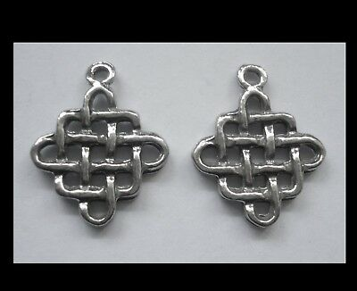 PEWTER CHARM #2425 x 2 CELTIC ENDLESS KNOT (25mm x 20mm) 1 bail