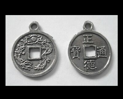 PEWTER CHARM #2429 JEWELLERY COIN PENDANT x 2 (18mm x 15mm) CHINESE LUCKY COIN