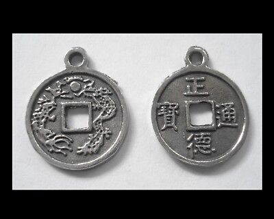 PEWTER CHARM #2429 x 2 JEWELLERY COIN PENDANT (18mm x 15mm) CHINESE LUCKY COIN