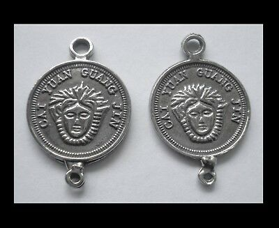 PEWTER CHARM #2452 x 2 JEWELLERY COIN 2 bail joiner (25mm x 17mm) double sided