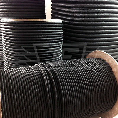BLACK 2mm THICK ELASTIC BUNGEE ROPE SHOCK CORD LUGGAGE TIE DOWN, TRAILER, BOATS,