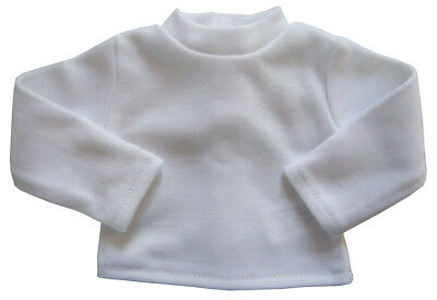 White Long Sleeve  T-Shirt fits American Girl & Bitty Baby  Doll Clothes