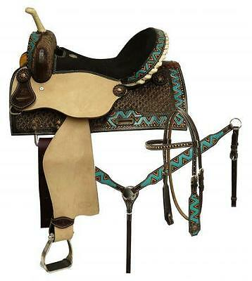"15"" CIRCLE S 5PC PACKAGE Barrel Saddle Set W/ TEAL Painted ZigZag Border!"