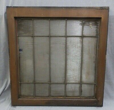 Large 15 Lite Antique Window Sash Leaded Ribbed Privacy Glass Old Vtg 748-16