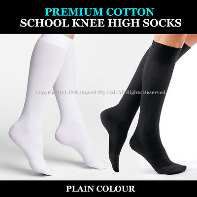 Premium Cotton Plain Knee High Socks - Kids N Girls Ladies 9-12 13-3, 2-8 & 6-11