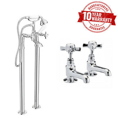 Traditional Freestanding Bath Shower Mixer Tap & Wash Basin Taps Cross Handles
