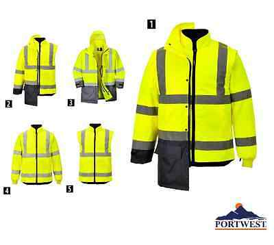 Hi Vis Executive 5 Jackets in 1 ANSI Fall Winter Waterproof M-3XL Portwest US768