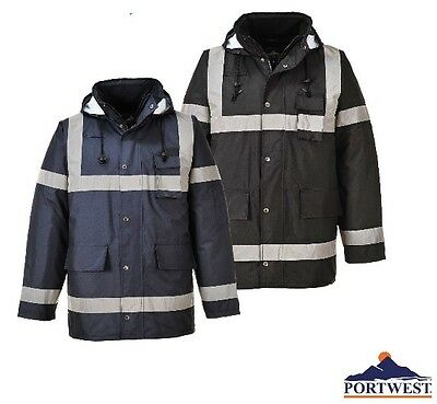 Rain Jacket 100% Waterproof Lite Bomber Coat Hood Work Reflective ...