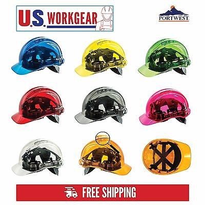 Hard Hat Safety Helmet Vented Construction Adjustable Transluscent Portwest PV50