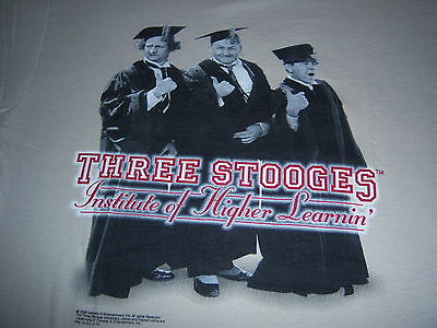 1999 licensed THREE STOOGES t shirt - INSTITUTE OF HIGHER LEARNIN' - (M)