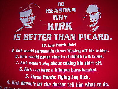 licensed STAR TREK t shirt --- 10 REASONS WHY KIRK IS BETTER THAN PICARD --- (L)