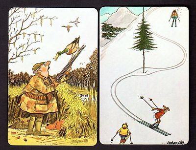 Vintage Swap/Playing Cards - Duck Shooter & Skiers Pair
