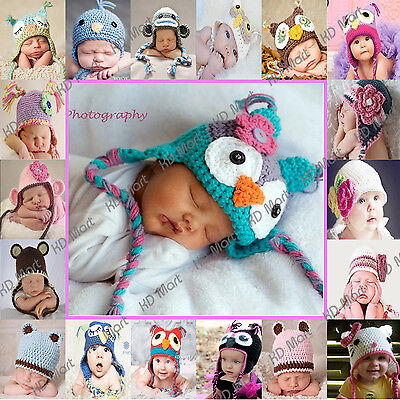 Newborn-Large Baby GIRLS BOYS BEANIE Hat CROCHET Owl Flower Bear ear PHOTO Prop