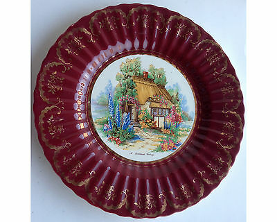 Maroon & Gold Wade England Royal Victoria Somerset Cottage Plate