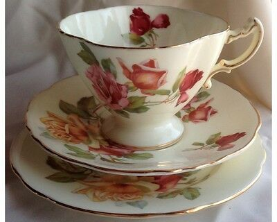 Lovely Hammersley C157 Morgans Rose Yellow Background Cup and Saucer Plate Trio