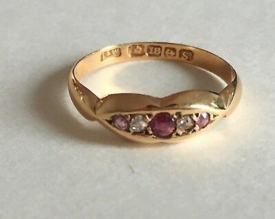 Antique 18K Yellow Gold Ruby and Diamond Ladies Ring