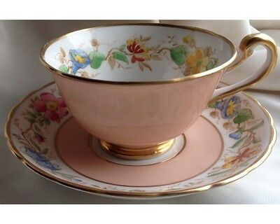 """Fancy Peach Royal Chelsea Hand Painted Floral """"Old England"""" Cup and Saucer"""