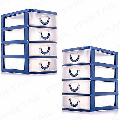 2 x MINI STORAGE TRAYS 4 Drawer Set Jewellery/Craft//Tiny/Small/Organiser/Box