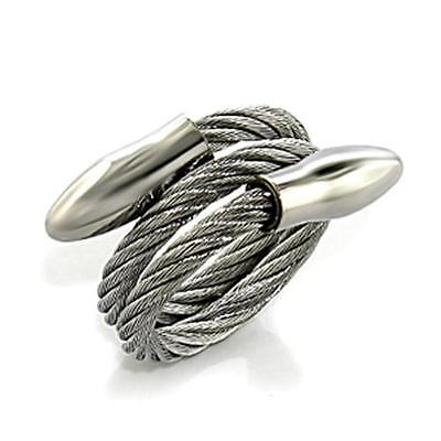 Stainless Steel Roman Tough Goth Cable Wire Goth Biker Ring CRM Point 7