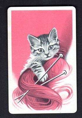 Vintage Swap/Playing Card - Gorgeous Kitten with Wool